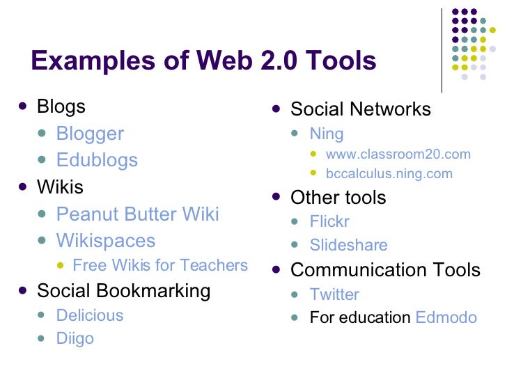 what are some examples of web 2.0 applications