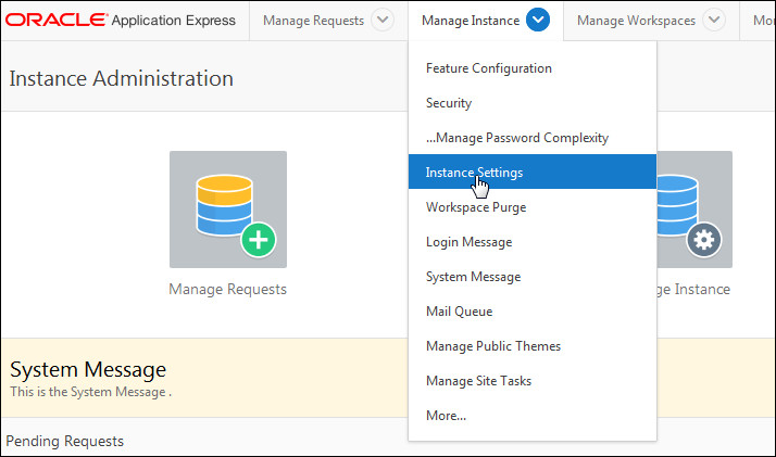 oracle application express workspace name
