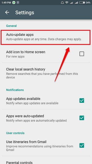 how to stop applications from updating on android