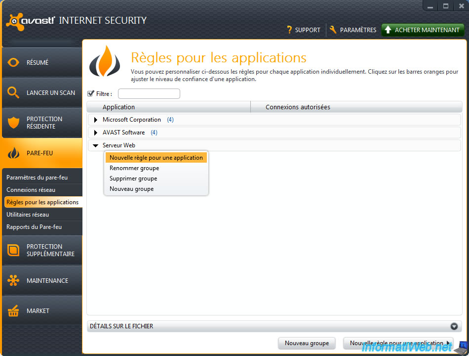 avast configuration application par feu